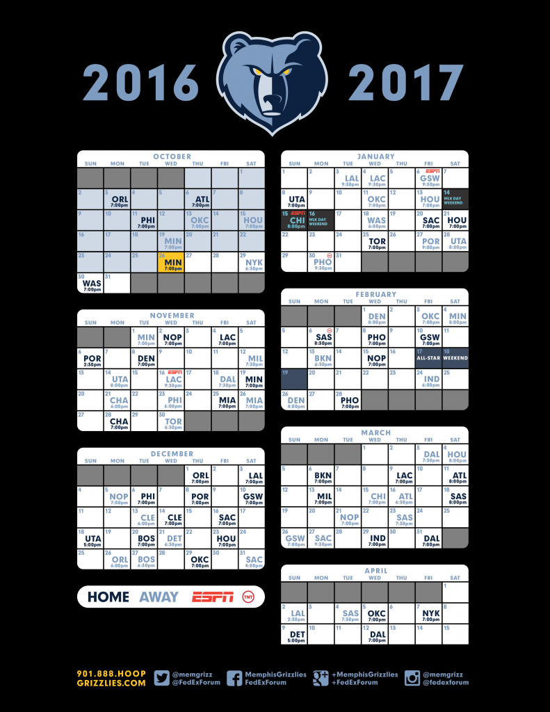 2016-17-Grizzlies-Schedule