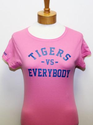 TigersVsEverybodyWomenPinkShirtBlueLetters