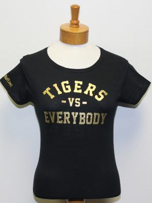 TigersVsEverybodyWomenBlackShirtGoldLetters
