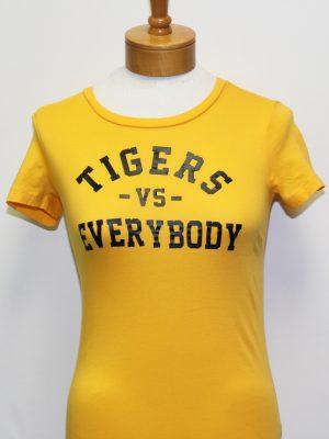 TigersVsEverybodyWomenGoldShirtBlackLetters