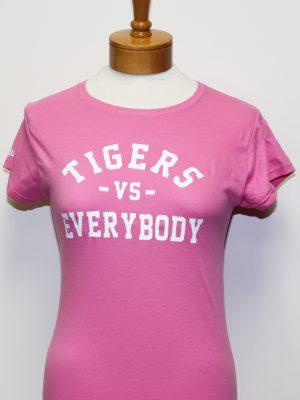 TigersVsEverybodyWomenPinkShirtWhiteLetters