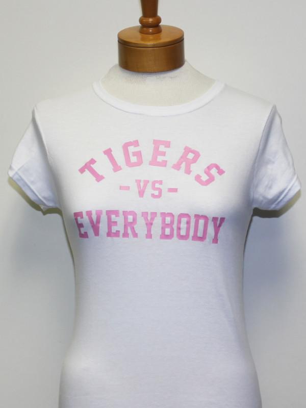 TigersVsEverybodyWomenWhiteShirtPinkLetters