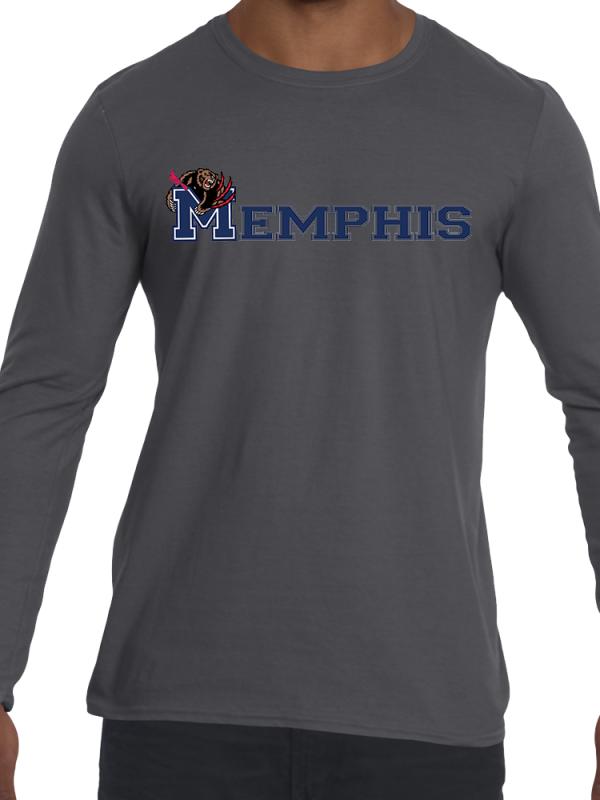 Memphis-Logo-Long-Sleeve-Grey-T-Shirt